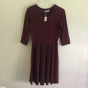 LE LIS Burgundy Knit Babydoll Dress NWT M